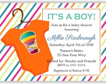 Aqua, Green, Blue, & Orange Rainbow Stripes Personalized Baby Shower Printable Digital DIY Invitation or Post Card ( Any Wording or Text)