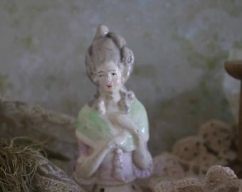 Antique chalk ware half pin cushion doll