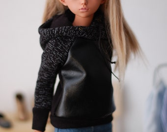 Black + leatherette sweatshirt hoodie for minifee MSD FR16 and other 1/4scale