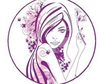 cabochon purple woman 23mm