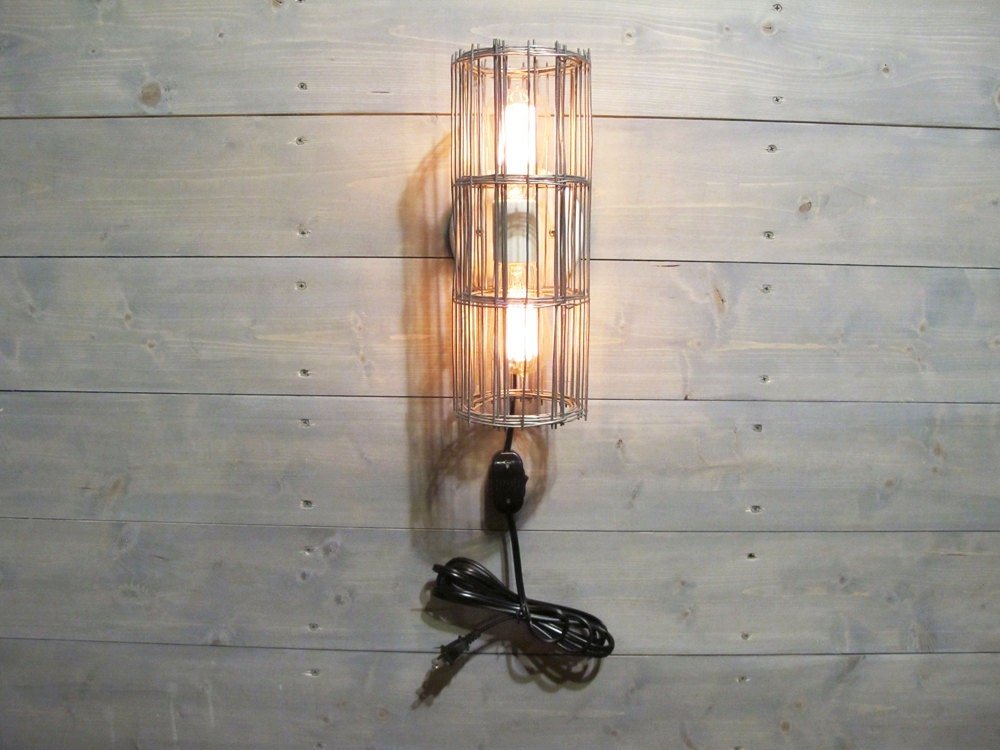Rustic wall sconce w plug cord and grey galvanized steel cage wall mount lamp with switch rustic industrial lighting gallery photo gallery photo gallery photo aloadofball Image collections