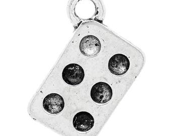 10 charms in antique silver domino shape