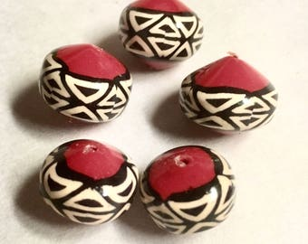 Black and Neutral on Red Kente Cloth Inspired Bicone Beads, Handmade Polymer Clay Graduated Bicone Beads