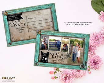 Rustic Save the Date Postcard, Country Rustic Turquoise Frame, Photo Save the Date, PRINTABLE Digital File or Printed 4x6 Postcard Photo