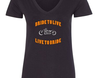 Biker Bride T-Shirt Orange Bride To Live, Live To Bride Motorcycle Design