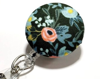 New Hunter Green Rifle floral badge reel flower id badge holder retractable badge holder nurse badge reel badge reels name badge holder
