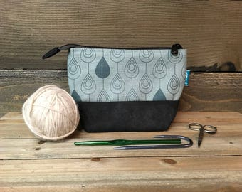 Raindrop - Waxed Canvas Pouch - Cosmetic Bag - Screen Printed - Light Blue Raindrop Bag