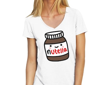 Nutella Jar Happy And Shy V-Neck T-Shirt for Ladies Cool Gift
