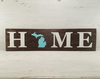 "Pick State, Pick colors, Custom, Wooden Home Sign, Michigan, U of M, Michigan State, 20""x5"""