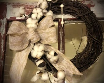14 inch Grapevine Wreath with Cotton Stems and Burlap with Lace Bow