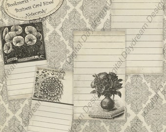 Instant Download Printable Little No Cut Note Cards or Gift Tags - Garden Catalog botanicals digital in pdf or jpg