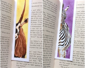 Double Bookmark BUNDLE - Zebra Bookmark - Oryx (Antelope) Bookmark - 39 x 148 mm - Animal Bookmark
