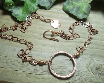 Solid copper circle necklace, Handmadejewelry,copper jewelry, art jewelry,wearable art, metal jewelry designs
