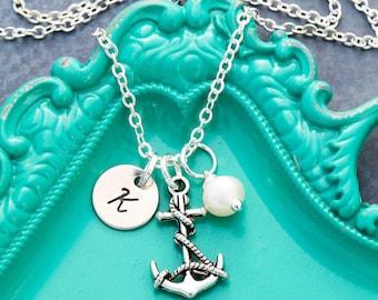 Anchor Necklace • Silver Anchor Charm Dainty Anchor Jewelry • Nautical Wedding Beach Gift Ship Anchor Gift Small Anchor Tiny