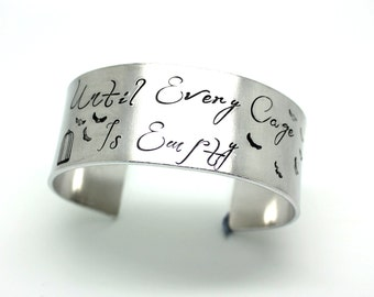 Large vegan until every cage is empty cuff bracelet - vegan bangle - 25mm wide - handstamped with bird pattern