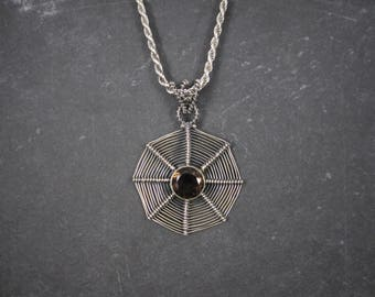 Vintage Smoky Topaz Spiderweb Pendant Necklace Spider Web
