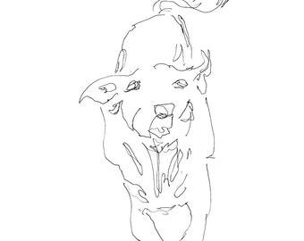 dog art - giclee print 8X10 - running puppy, gestural expressive pen ink line drawing