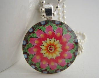 Hot Pink Pinwheel Pendant with Free Necklace
