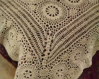 antique hand made ecru tablecloth or coverlet