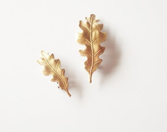 Gold Oak Leaf Hair Clips Bridal Barrettes Nature Botanical Garden Bridesmaid Rustic Woodland Wedding Accessories Womens Gift Autumn Fall