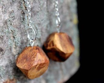 Wood earrings, wood dangle earrings, drop wood  earrings, ooden earrings, unique wood earrings, design wooden earrings, women wood earrings
