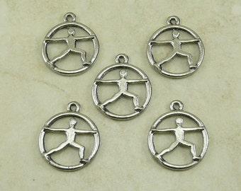5 Warrior Yoga Pose Charms > Yoga Thai Chi Meditation Spiritual Exercise - Raw American Made Lead Free Silver Pewter Ship internationally