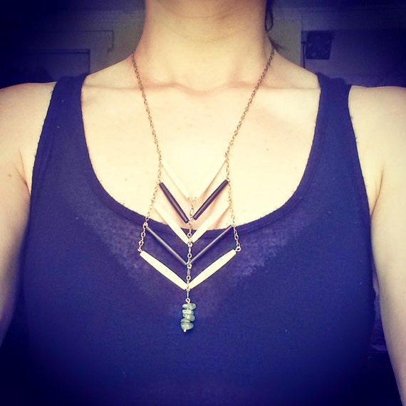 Porcupine quill and jade chevron necklace on antique brass