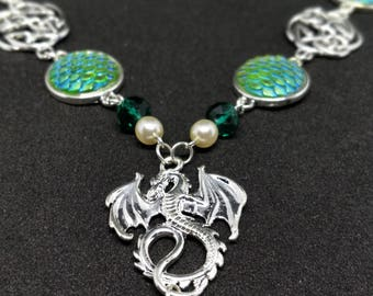 EARTH DRAGON Celtic knot fantasy Elves Green Scales