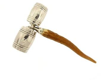 Vintage Sterling Silver & Stag Horn Whisky Barrel Double Bar Jigger