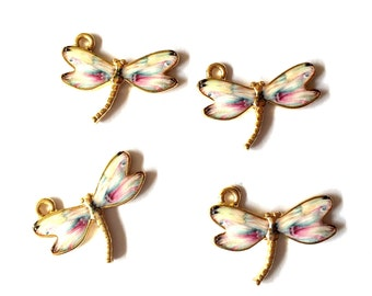 Kawaii Translucent Wing Dragonfly Enamel Charms 4pcs