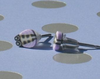 Teeny Tiny Lavender, Black and Gray Bug Stud Earrings