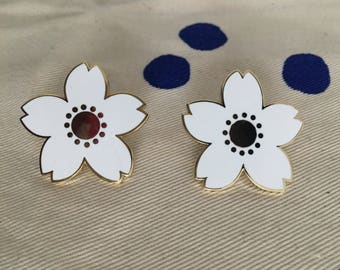 Set of pins with cherry blossom