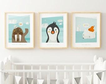 Polar animals set, Nursery art prints, Arctic animals nursery, Polar Bear, Walrus, Penguin Illustrations for Kids Room, Kids room prints