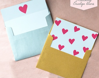Printed Matching Envelope Liner | A2 Sized Liner | Valentines Day Liner | Love Liner | Heart Card | I Love You | Just Because | Card for Him