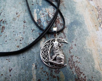 Wolf Moon Pendant Sterling Silver 925 Pentagram Handmade Necklace Wiccan Jewelry
