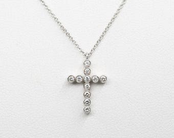 Cross Diamond Necklace/14k Rose Gold Necklace/Simple Necklace/Diamond Pendant Dainty Faith Necklace/0.18 Ct. Natural Diamond Necklace