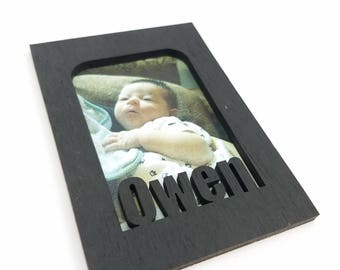 Magnet Photo Frame - Personalized with Any Name - 10 Color Options (Shown in Black) - Mini Wallet Picture