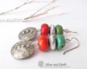 Corail rouge et Turquoise boucles d'oreilles, fait à la main en argent Sterling boucles d'oreilles, bijoux sud-ouest, boucles d'oreilles, boucles d'oreilles sud-ouest, cadeau pour elle