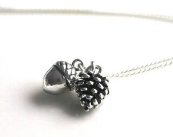 Woodland necklace - Sterling silver Acorn Necklace - Christmas Gift for her - Pinecone necklace - Autumn Necklace - nature necklace - Acorn