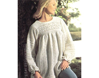 Boho Tunic Top Knitting Pattern, Knit Pullover Smock Sweater Pattern, Womens Jumper Long Sleeves Bust 34 36 38 PDF Instant Download K105