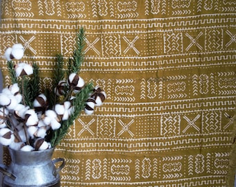 Authentic African Mud Cloth,Textile, African Mudcloth Throw, Wall Hanging, Bogolan Fabric,Mudcloth Bedding, Blanket, FarmhouseDecor, Mustard