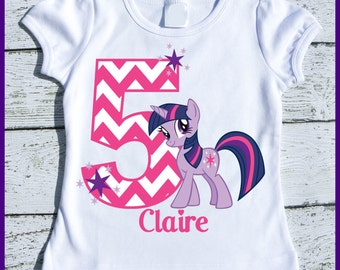 Custom Personalized Twilight Sparkle Pony Birthday tee shirt