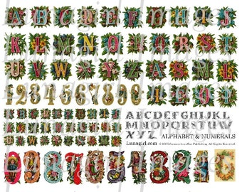 ALPHABET NUMBERS digital collage sheet Victorian floral letters numerals flowers elves vintage images printables art cards crafts DOWNLOAD