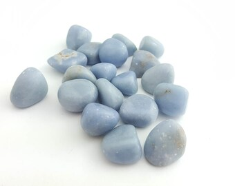 Natural Angelite Blue Anhydrite Tumbled Stone Mineral Specimen