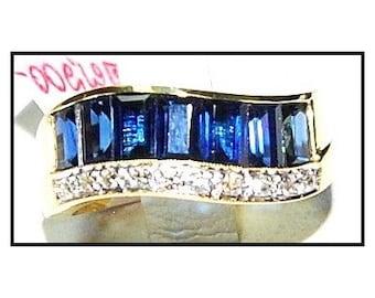 18K Yellow Gold Diamond Blue For Men Sapphire Wedding Ring [RQ0019]