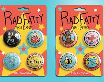 Rad Fatty Merit Badges - 38mm Pin/Badge Pack!