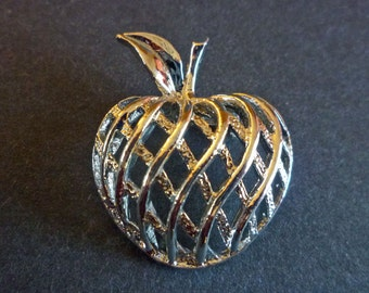 Silver Tone Apple Brooch signed Gerry