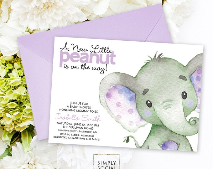 Purple Elephant Baby Shower Invitation - It's a Girl Watercolor Elephant Modern Baby Shower Lilac Purple and Grey Little Peanut Printable
