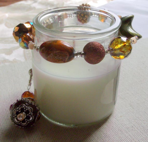 """13 """"  Warm brown candle garland - chunky beads - crystal candle ring -  fall decor - candle wrap - for glass candle - tin - pillar - gift"""