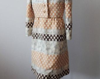 "Vintage Nan Duskin 1960s Polka Dot Brocade Dress Suit 36"" bust; 28"" waist"